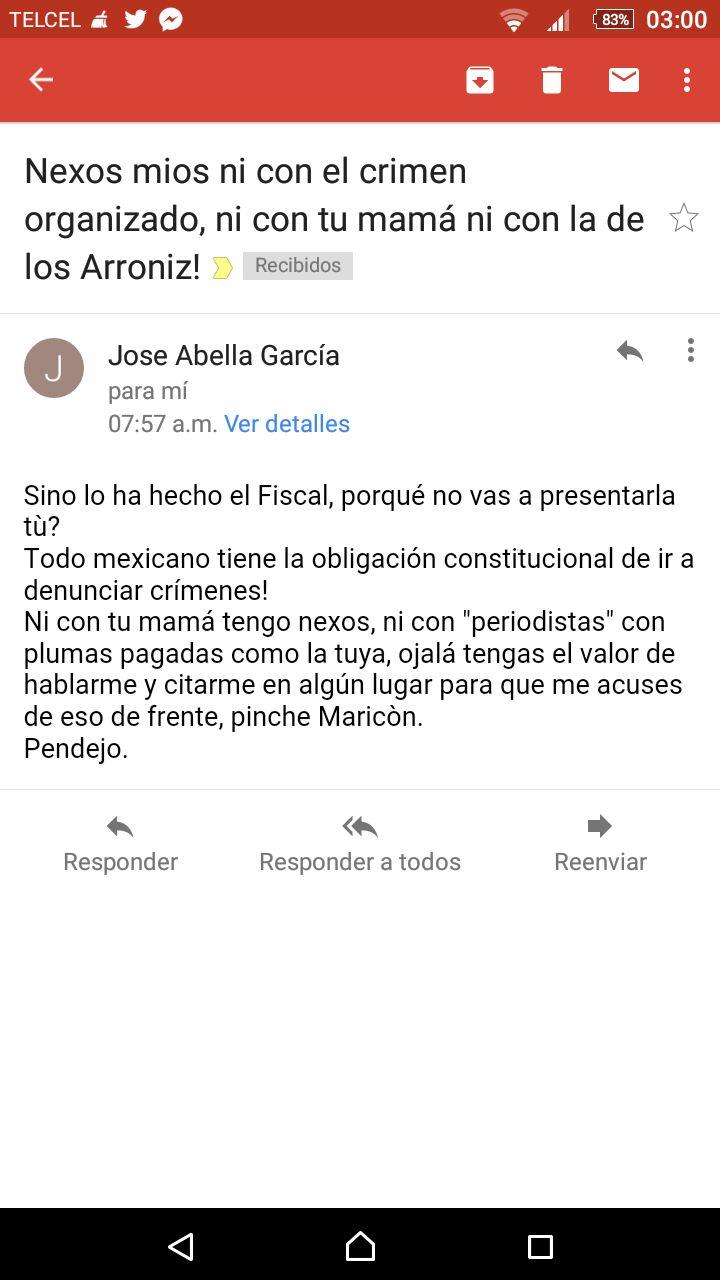 José Abella amedrenta a columnista Aurelio Contreras