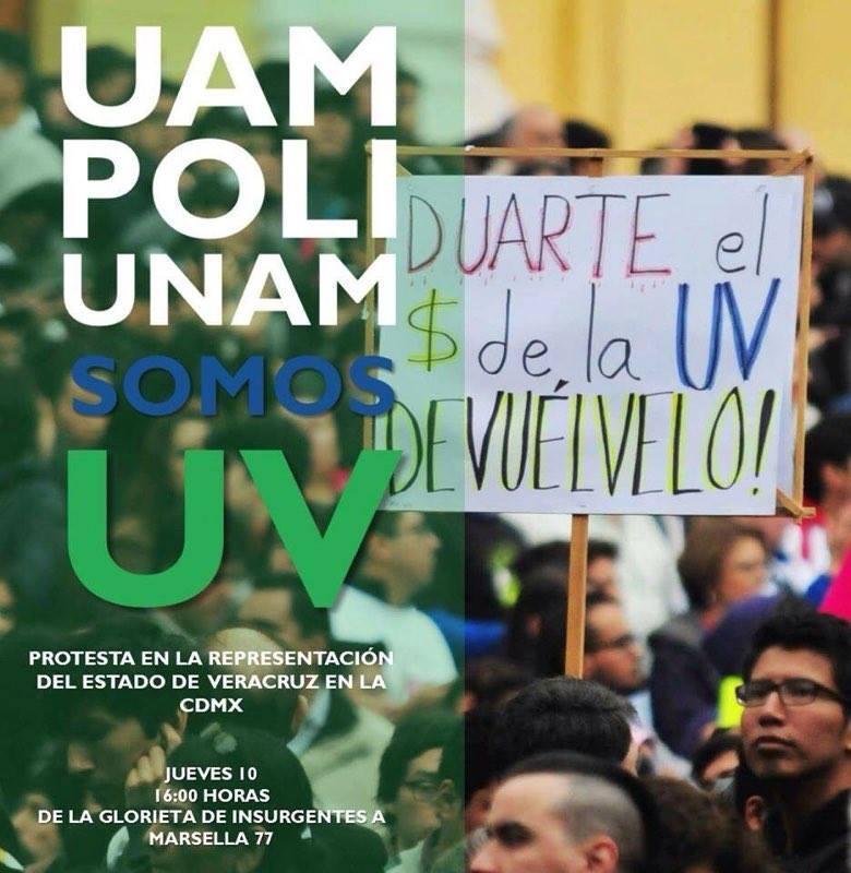 UNAM, Politécnico, y UAM se suman a marcha de la UV
