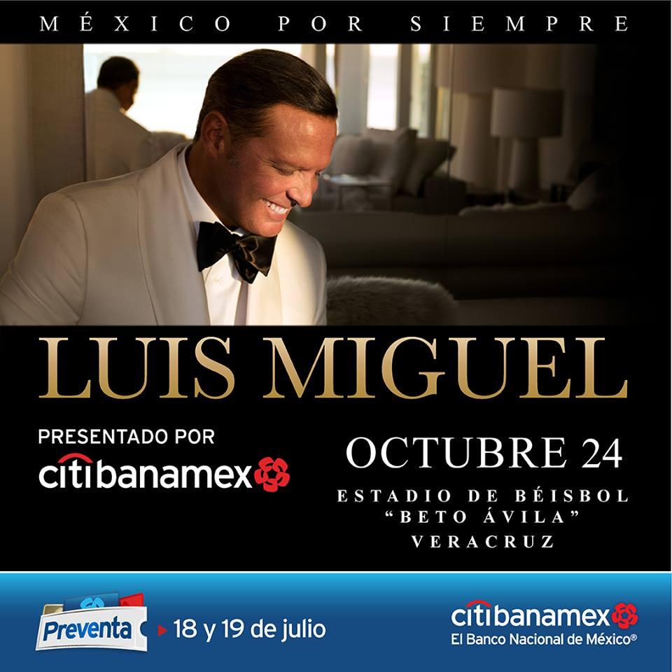 Anuncian preventa de boletos para el concierto de Luis Miguel en Veracruz