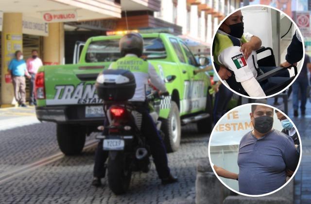 Conductor se enoja por cierre vial y arrolla a oficial en Xalapa