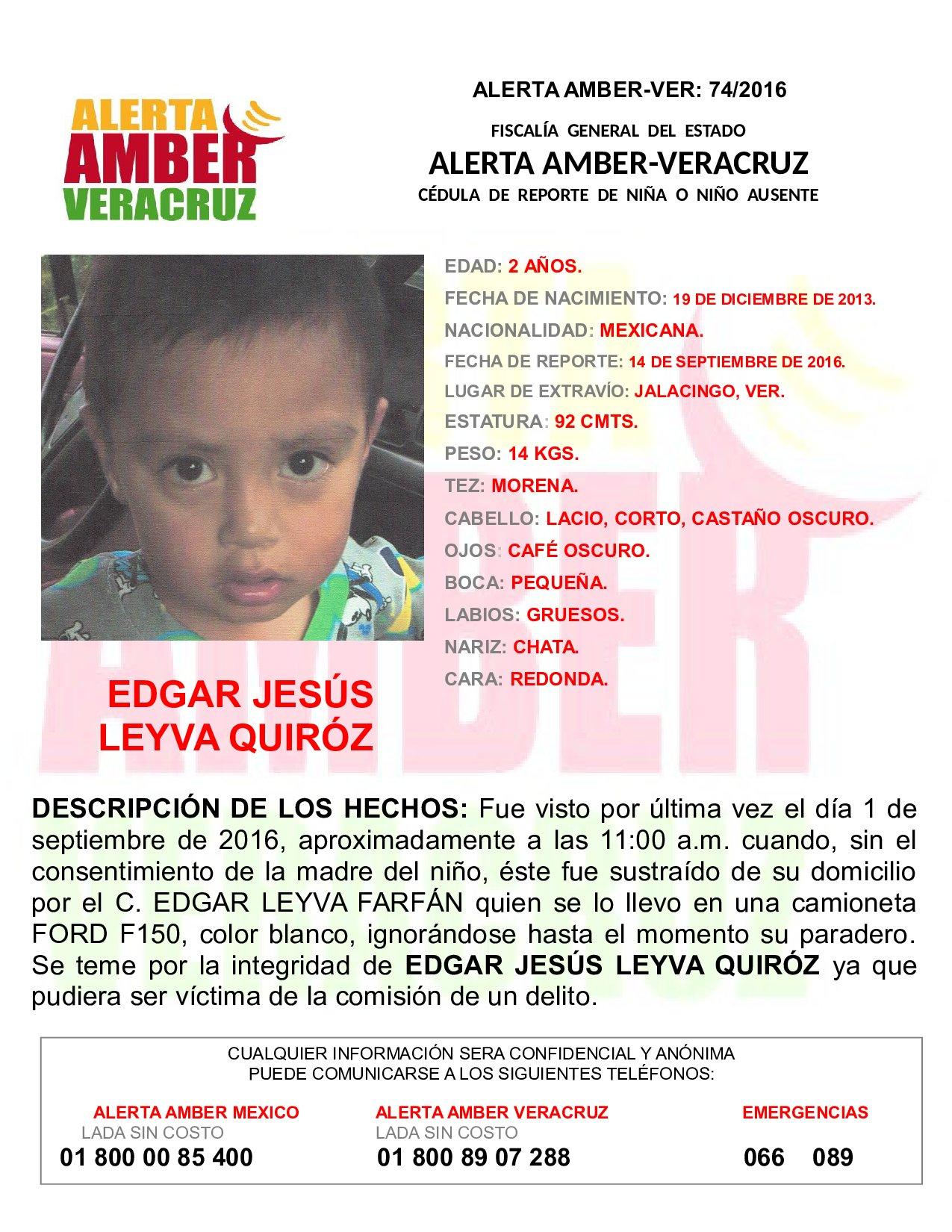 Activa FGE Alerta Amber por desaparición  de niño de dos años, en Jalacingo