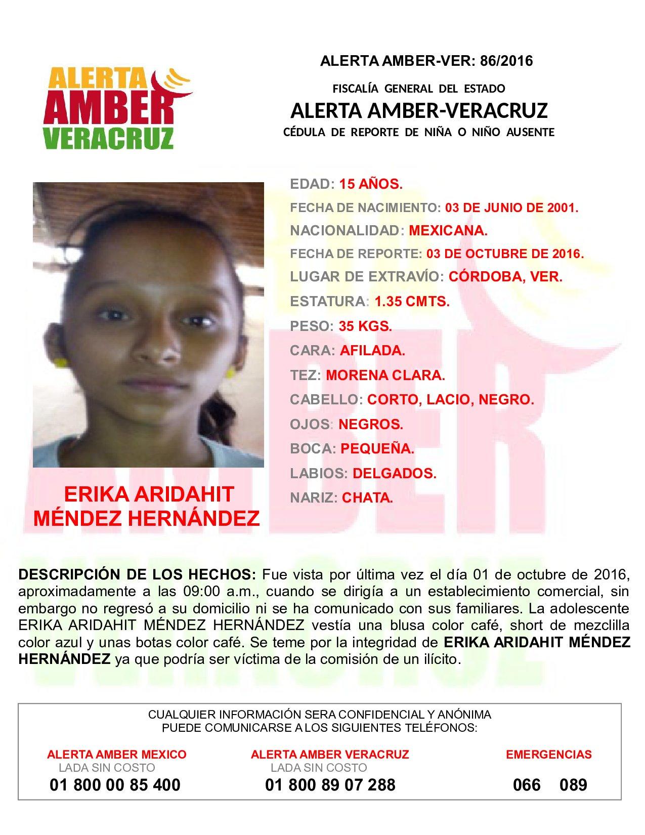 Activan Alerta Amber por desaparición de adolescente en Córdoba