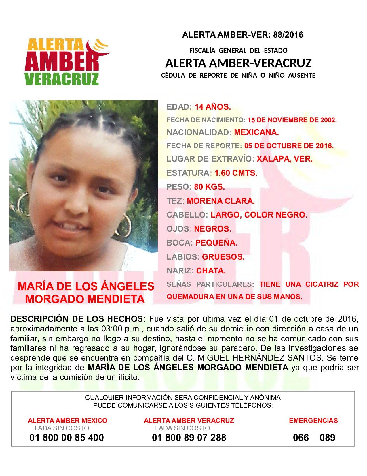 Activan Alerta Amber por desaparición de adolescente, en Xalapa
