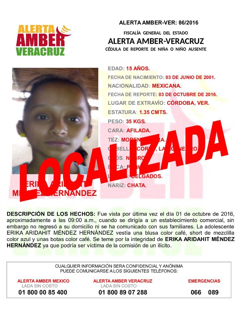Desactivan Alerta Amber por localización de menor de edad, en Córdoba