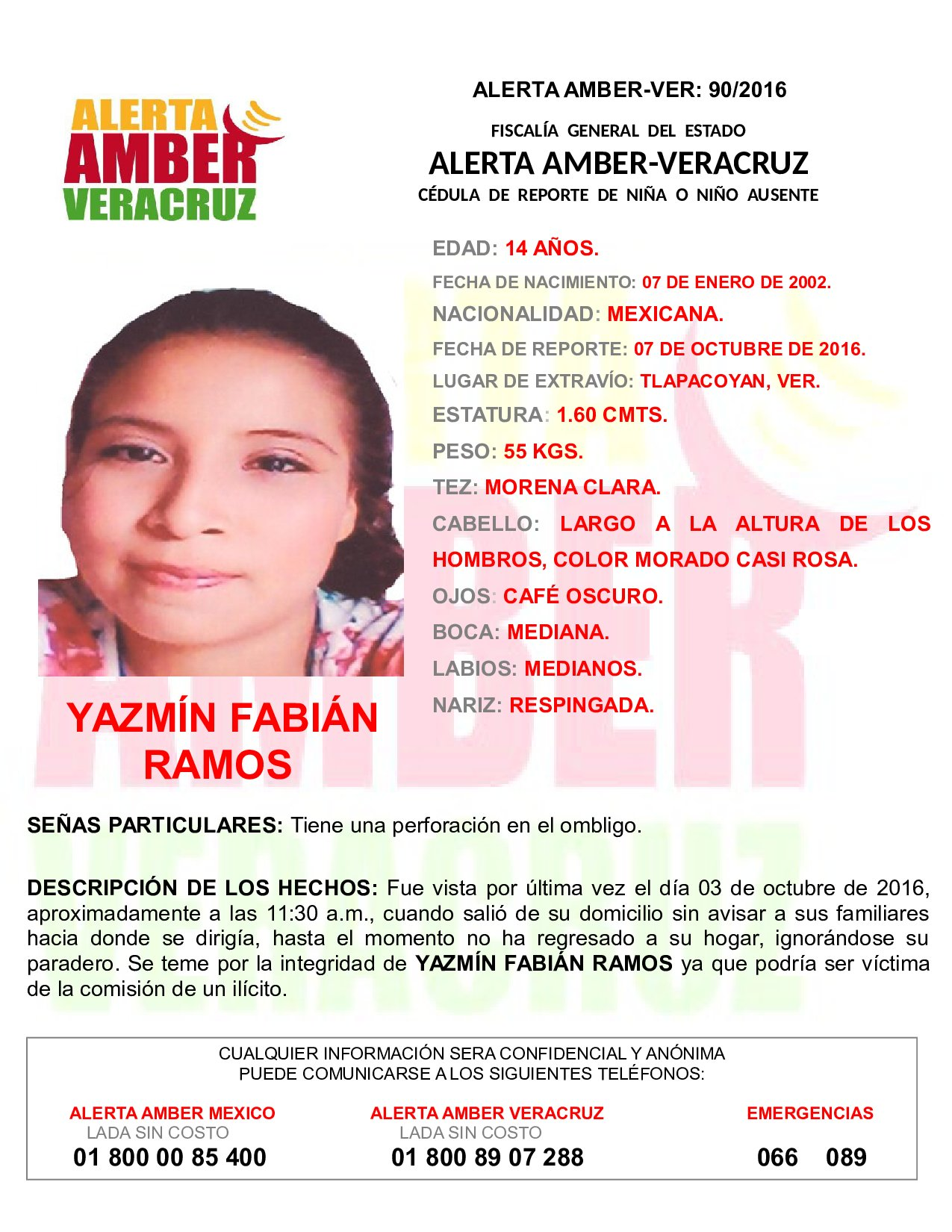 Activa FGE Alerta Amber por desaparición de adolescente, en Tlapacoyan