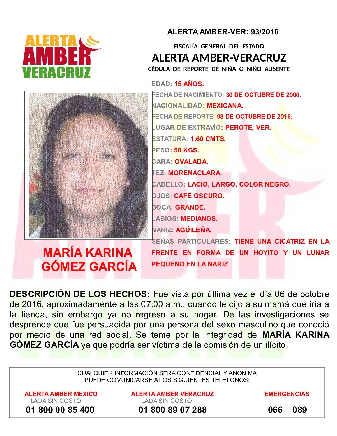 Activa FGE dos alertas Amber por desapariciones de adolescentes, en Perote y Orizaba