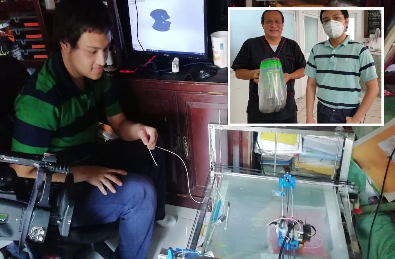 Ángel armó su impresora y regala caretas en hospitales de Minatitlán