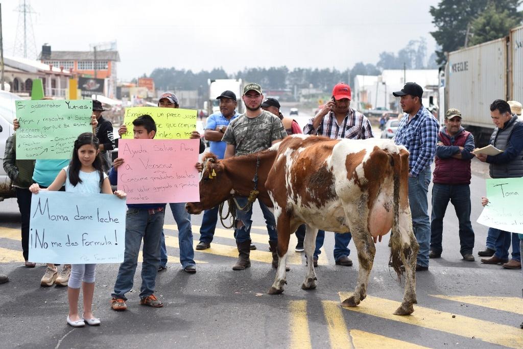 Productores de leche bloquean carretera federal México-Veracruz en La Joya