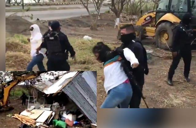 Desalojan a paracaidistas en Veracruz con maquinaria y jaloneos