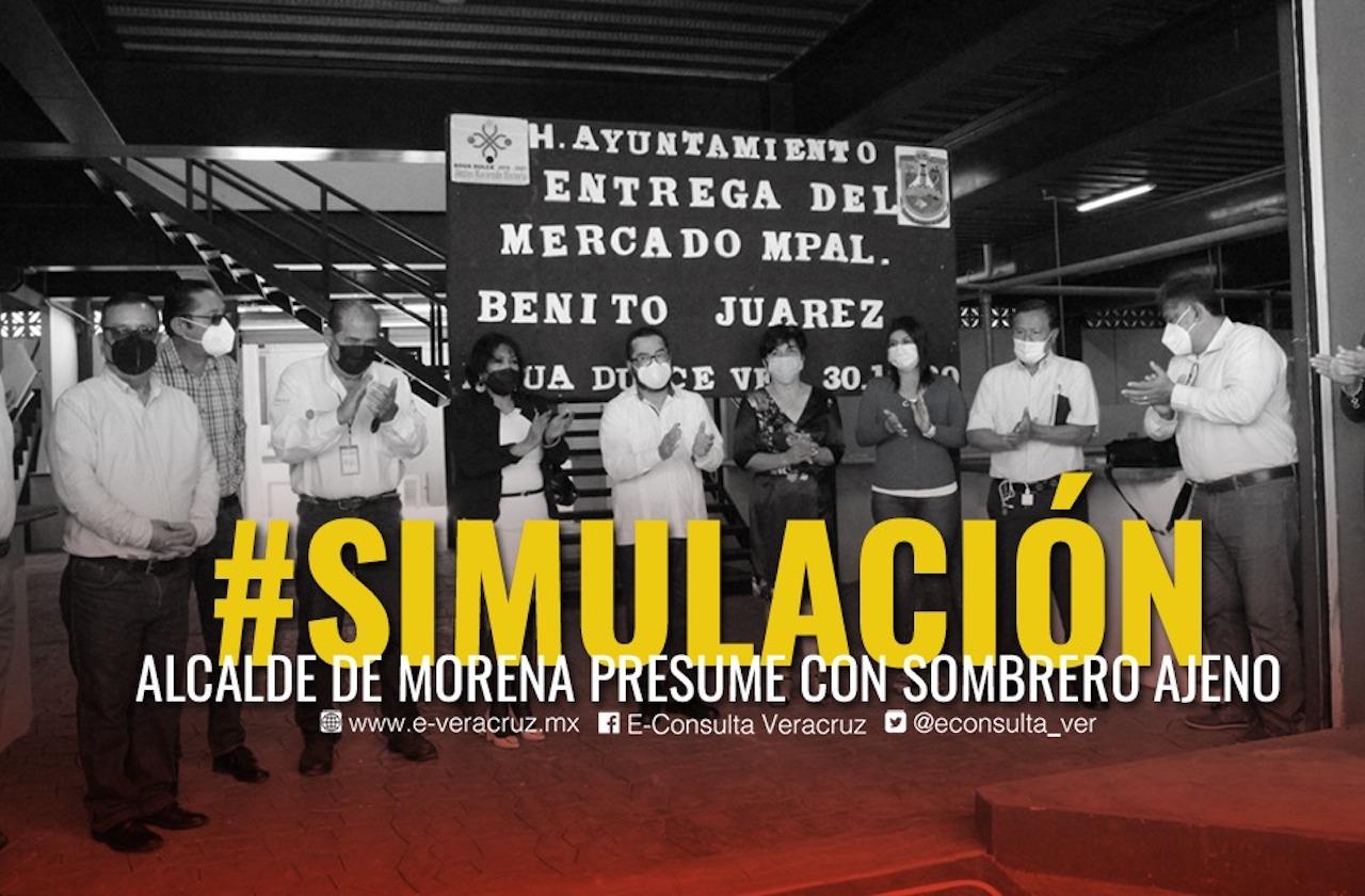 Alcalde de Agua Dulce simuló inauguración de millonario mercado