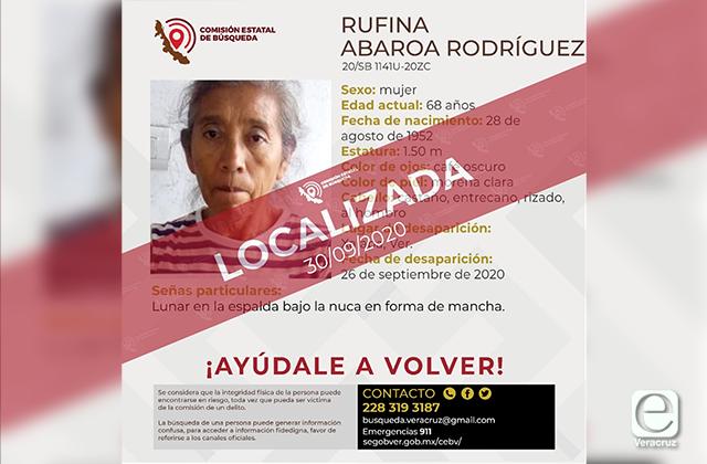 Hallan con vida a Rufina, integrante de colectivos de búsqueda