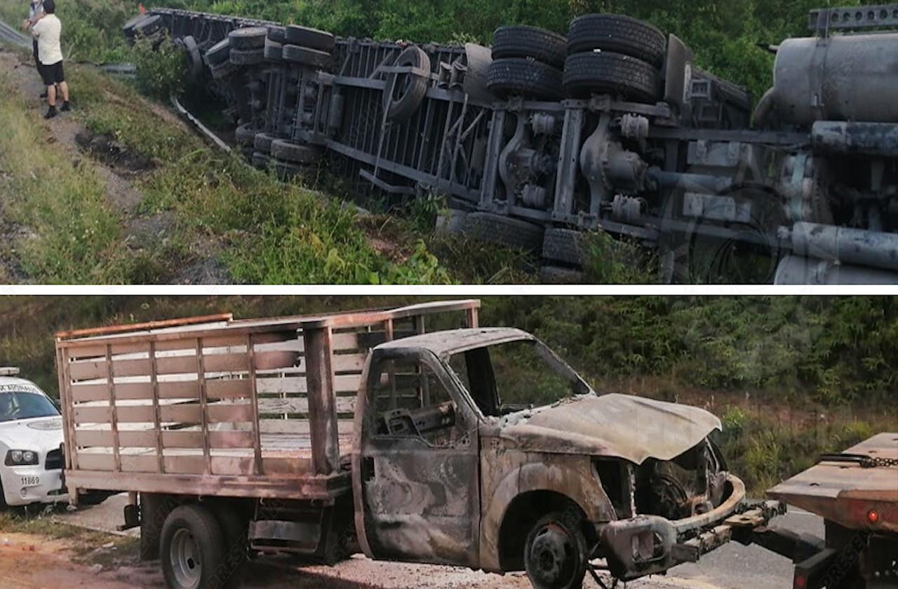 Arde camioneta y vuelca tráiler en supercarretera de Las Choapas
