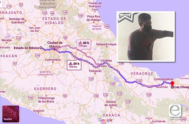 Joven viajó en bici de México a Las Choapas para ver a su novia