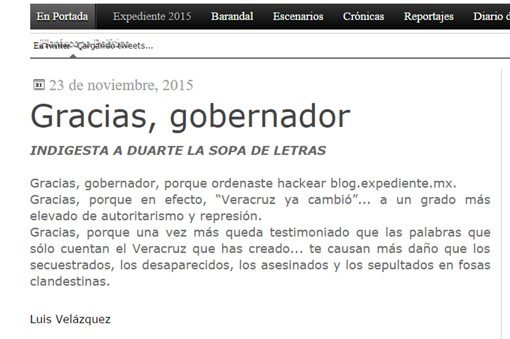 Hackean Blog Expediente que critica al gobierno de Javier Duarte