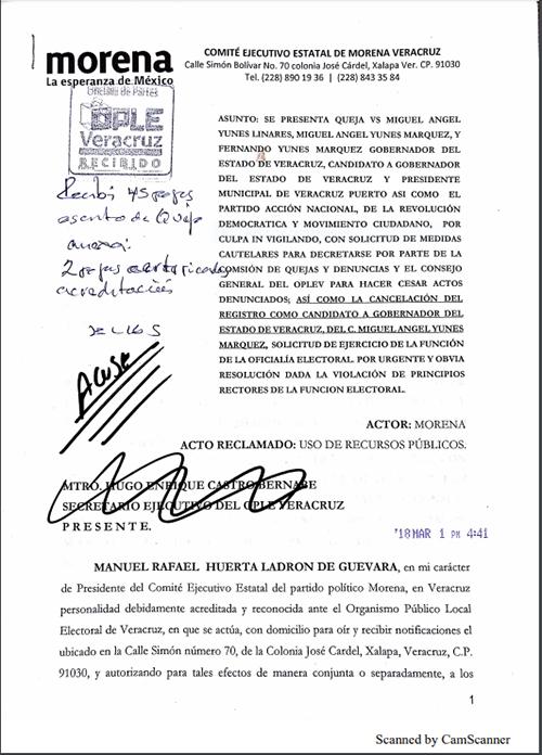 Morena pide cancelación de registro a Yunes Márquez