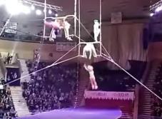 Impresionante: acróbata cae al vacío durante espectáculo