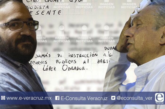 Javier Duarte niega en carta haber apoyado a López Obrador