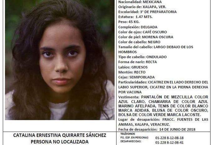 Sigue la búsqueda de Catalina Quirarte, joven desaparecida en Xalapa