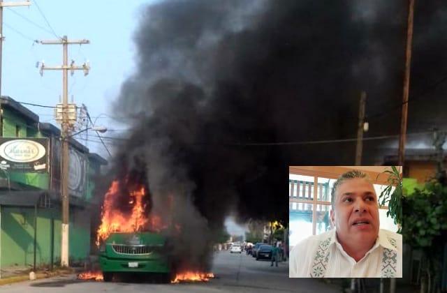 Pelea por concesiones, detrás de quema de urbanos en Coatza: SSP