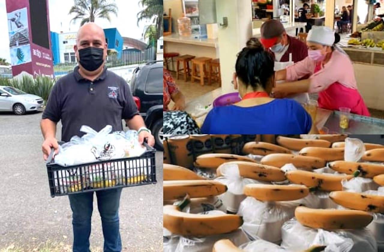 Con 'lunches' en filas de vacunación, xalapeños dan ejemplo de solidaridad