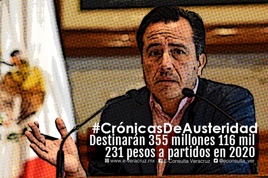 ¿Austeridad? Esto se destinará a partidos políticos en Veracruz en 2020