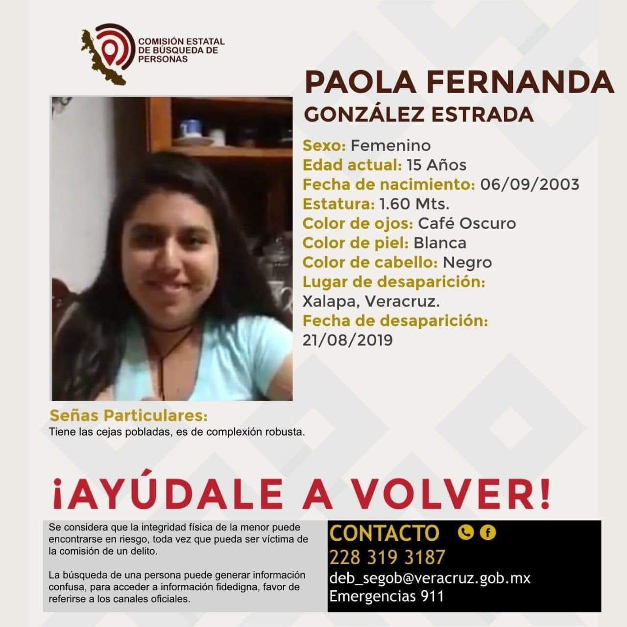 Buscan a Paola Fernanda, desaparecida en Xalapa