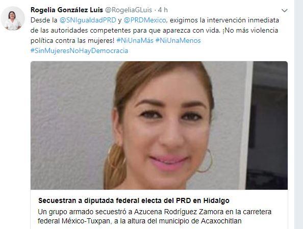Secretaria de Igualdad del PRD exige hallar con vida a virtual diputada de Veracruz