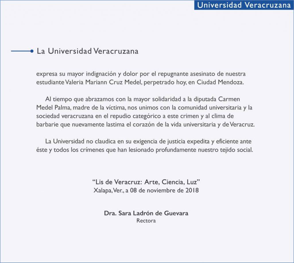 UV y actores políticos condenan asesinato de Valeria