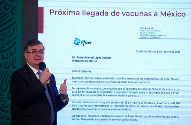 El 15 de febrero reanudan envíos de vacunas a México: Ebrard