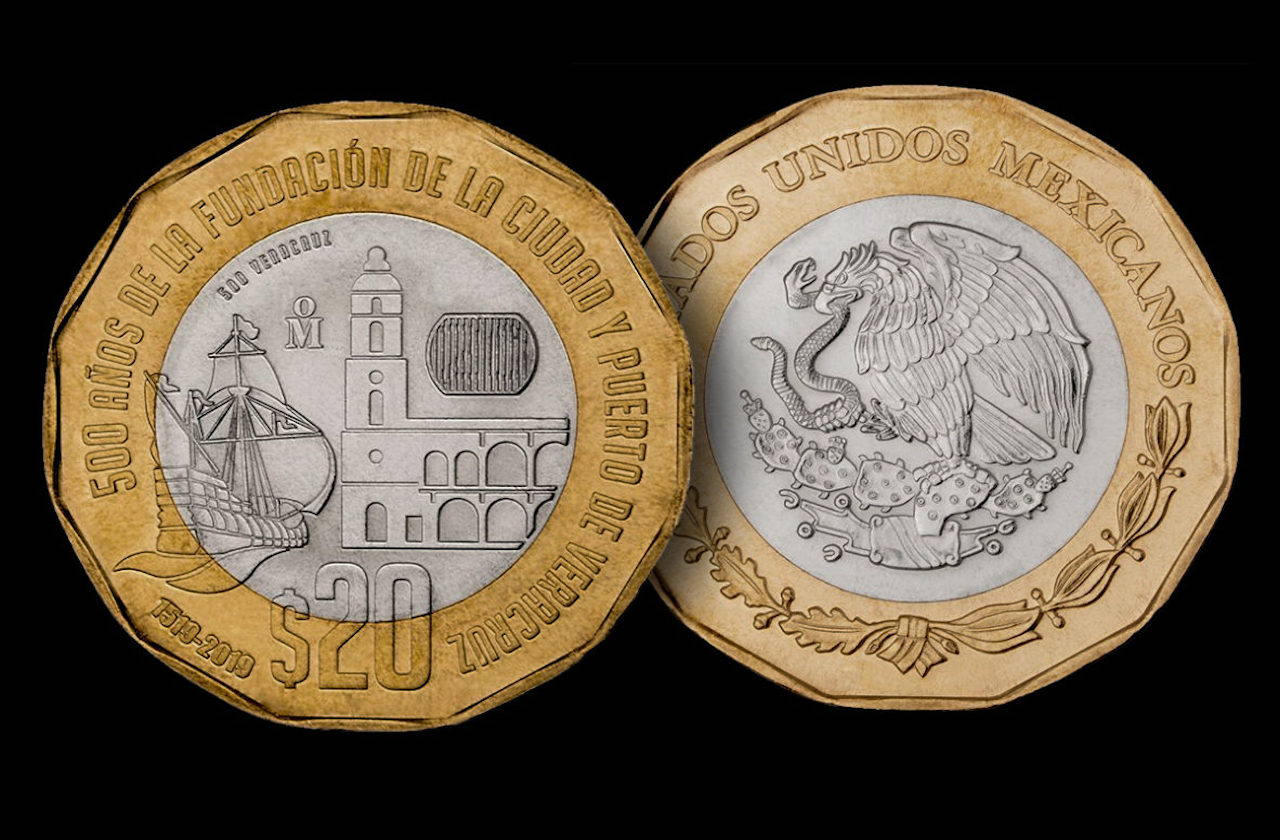 En circulación, moneda conmemorativa de Veracruz