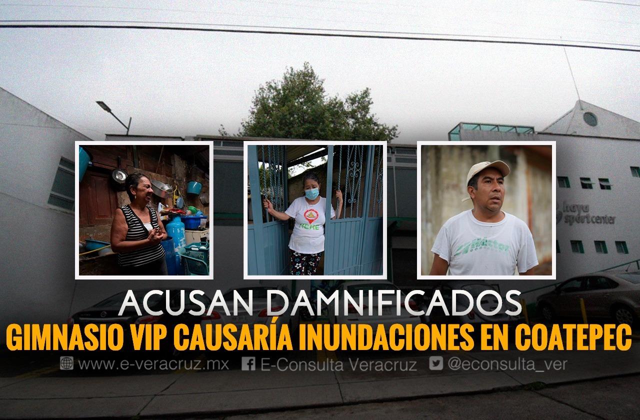 En Coatepec, colonias se inundan por desagüe de gimnasio de lujo