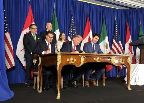 En último día de gobierno, EPN firma el T-MEC con Trudeau y Trump