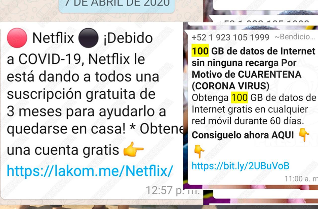 Inundan redes con falsos mensajes de servicios gratuitos