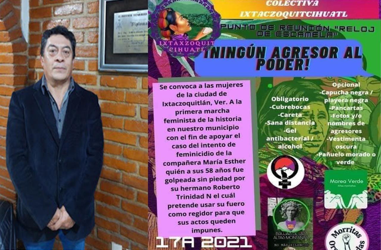 Protestan contra regidor acusado de golpear a su hermana en Ixtac