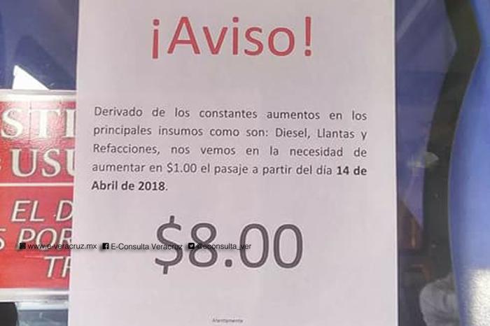 Incrementarán a 8 pesos el costo de pasaje en Martínez de la Torre