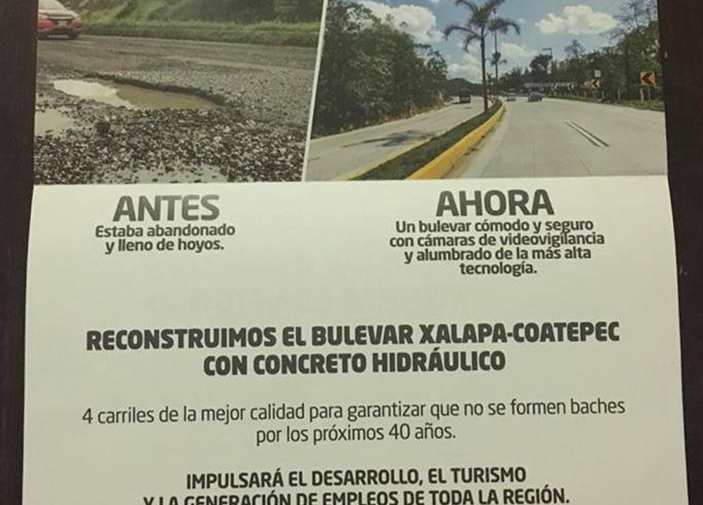 Mediante carta, Yunes presume carretera Xalapa-Coatepec