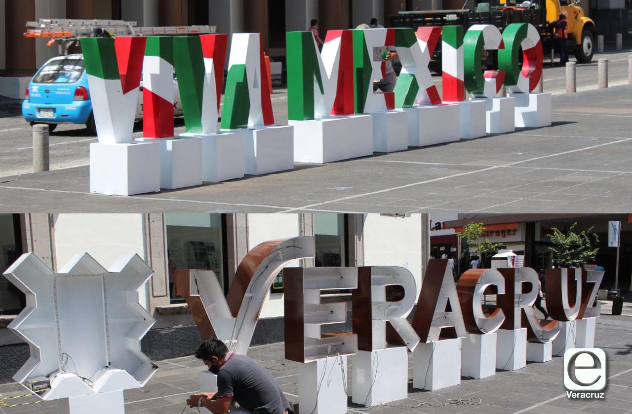 Colocan letras gigantes de Veracruz frente a Palacio de Gobierno