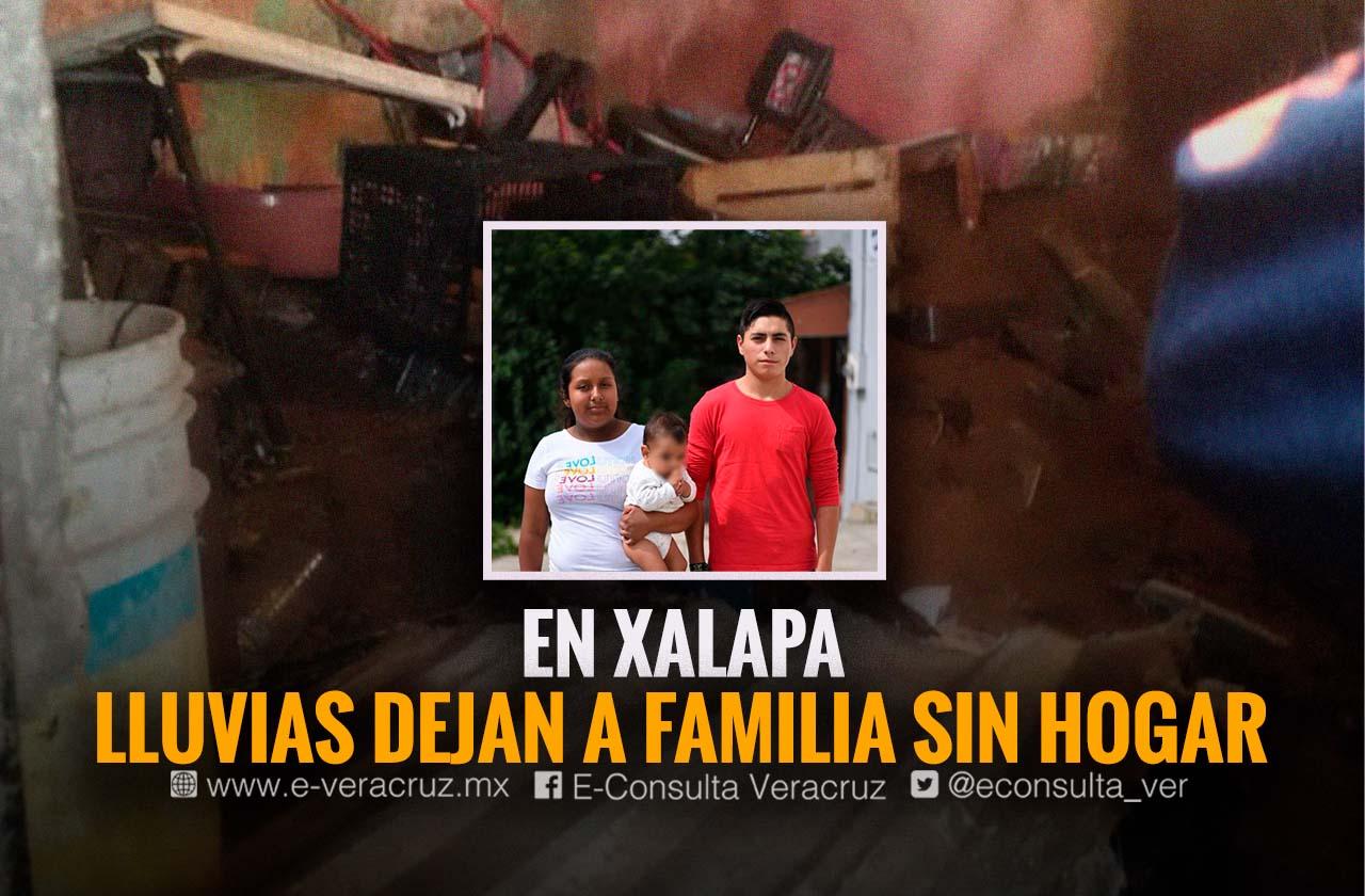 Aguaceros tiraron casa de Los Gonzales, llevan 1 mes en albergue de Xalapa