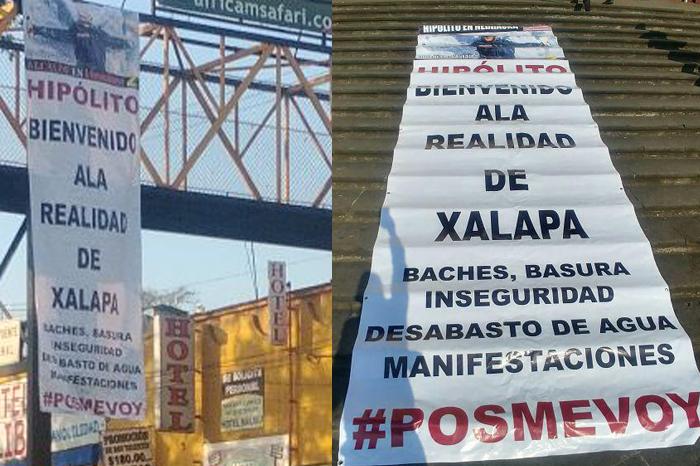 Una vez más, cuelgan lonas contra viajes de Hipólito Rodríguez