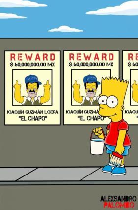 Parodian fuga de El Chapo al estilo Los Simpson