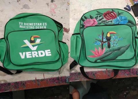 Así transformaron mochila del Partido Verde en Veracruz