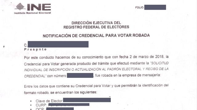En 2018 robaron a DHL 3 mil 540 credenciales de elector
