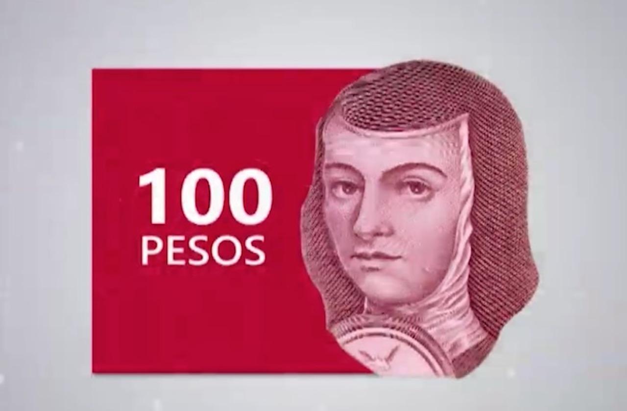 Nuevo billete de 100 pesos será rojo y traerá a Sor Juana