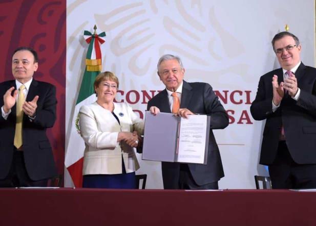 AMLO y Bachelet firman acuerdo sobre Derechos Humanos y Guardia Nacional
