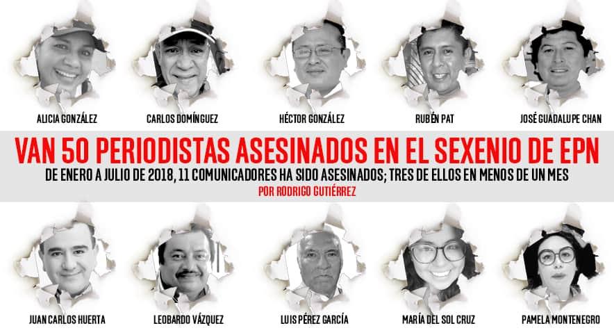 Ya son 50 los periodistas asesinados en sexenio de EPN
