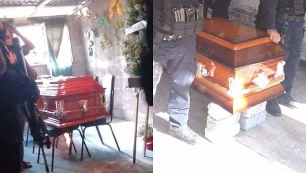 Sobre tabiques y sillas son velados policías acribillados en Michoacán