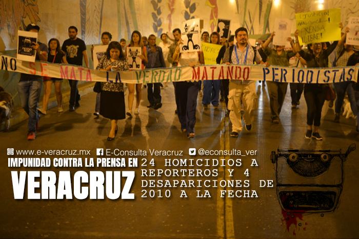 Veracruz: 92% de asesinatos contra periodistas, en la impunidad