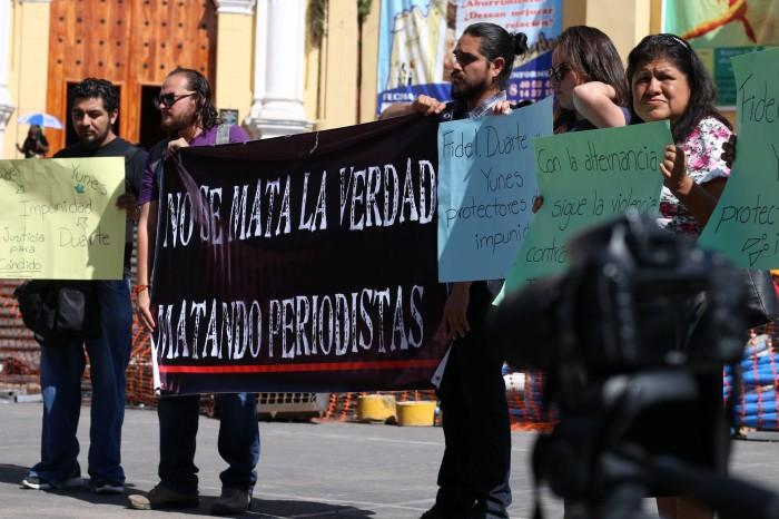 Periodistas protestan en Xalapa por asesinato de Cándido Ríos
