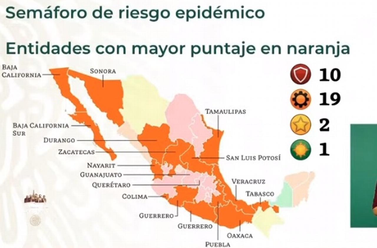 Retrocede Veracruz en el Semáforo Covid; vuelve a color naranja