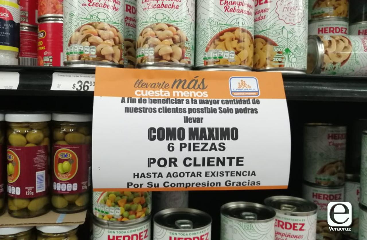 Por contingencia, supermercados de Xalapa racionan venta de productos